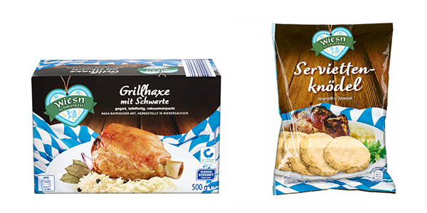 Zwei Produktabbildungen: Grillhaxe mit Schwarte und Serviettenknödel