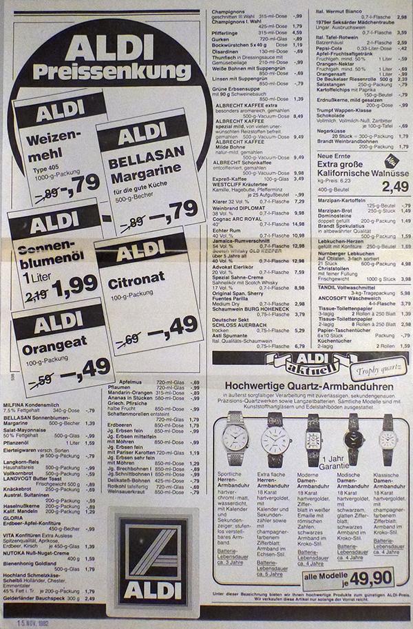 ALDI SÜD hat auch schon in den 80ern Preisreduzierungen vorgenommen.